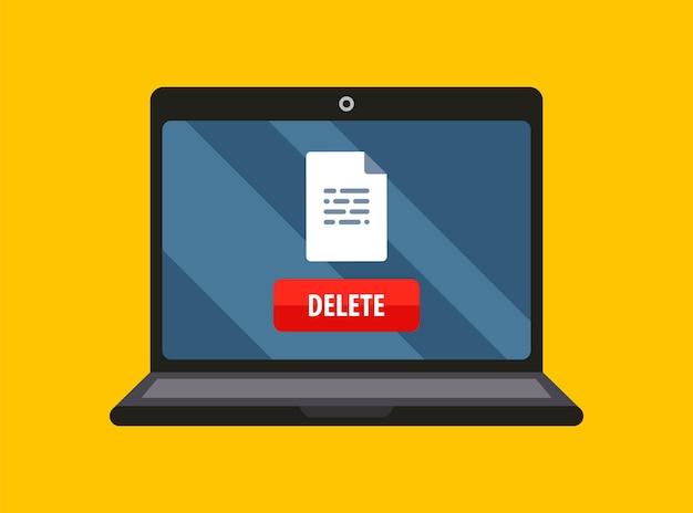 Documento cancellato dall'illustrazione piatta dello schermo del laptop