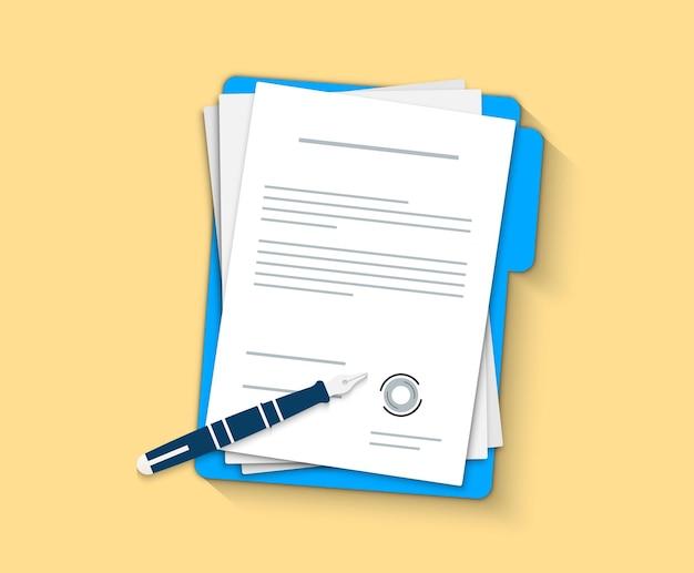 Documento, cartella con timbro e testo. documenti contrattuali. documento. design piatto. penna contratto icona accordo.