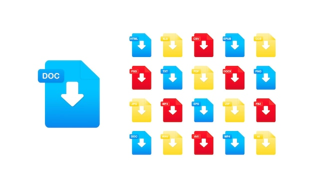 Set di icone del formato del documento