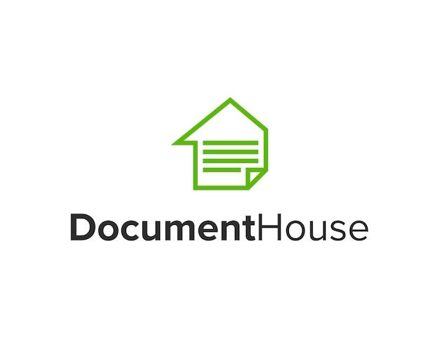 Documento e casa semplice elegante design geometrico creativo moderno logo