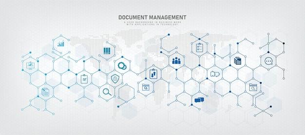 Linee geometriche di vettore di gestione dei documenti concetto blu relativo al sistema/software di archiviazione di file digitali. oltre a mantenere i registri di sicurezza dell'azienda, protegge dai virus dei dati dell'epidemia di hacker.