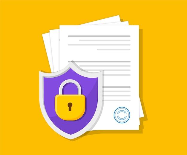 Protezione dei documenti con lucchetto documenti al sicuro