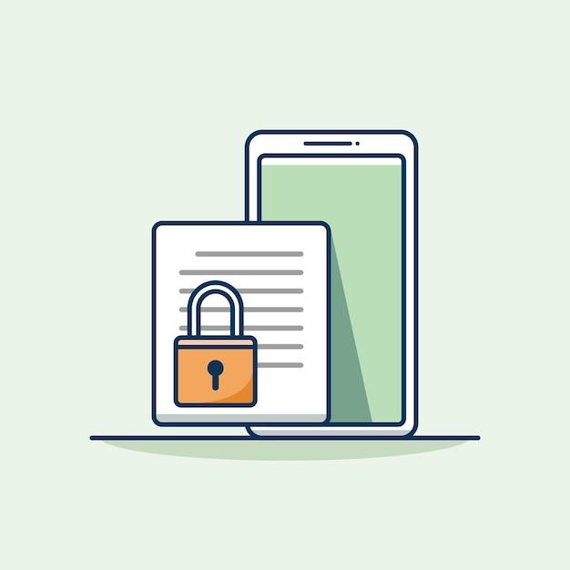 Sicurezza dei documenti sull'illustrazione vettoriale mobile sicurezza dei documenti con design piatto