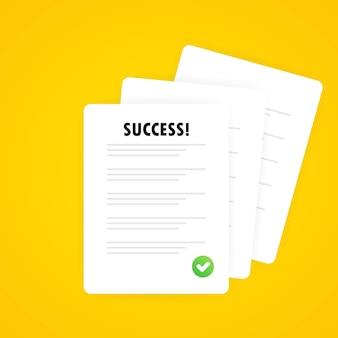 Icona di documenti. pila di fogli di carta. documento confermato o approvato. documento firmato, accordo legale, licenza con timbro approvato, modulo di partnership, transazione riuscita