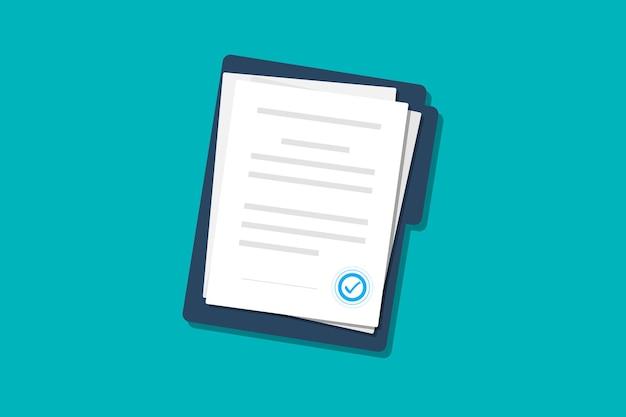 Documenti carte contratti cartella con timbro e testo documento contratti