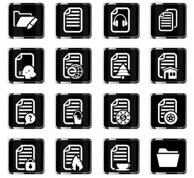 Documenti icone vettoriali per la progettazione dell'interfaccia utente