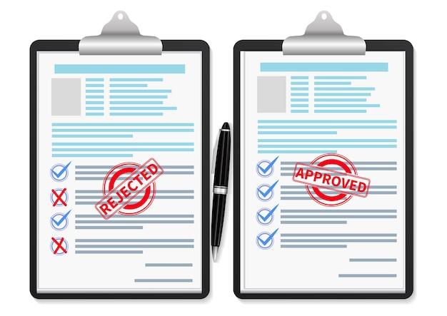 Documenti con timbro approvato e timbro rifiutato. illustrazione