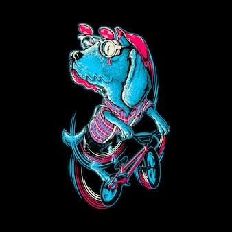 Illustrazione grafica del motociclista animale del cane