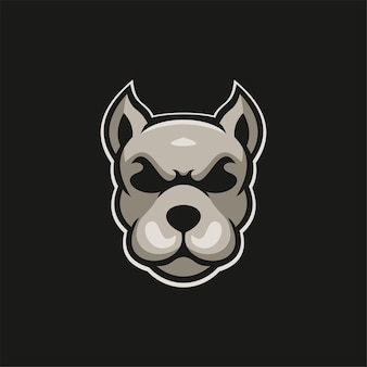 Illustrazione del modello di logo del fumetto della testa di animale del cane esport logo gaming premium vector