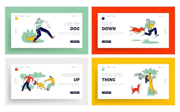 Set di modelli di pagina di destinazione di attacco di cane