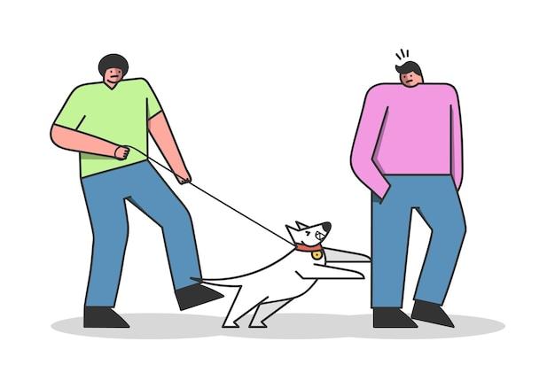 Cane che attacca l'uomo durante la passeggiata con il proprietario. canino del fumetto al guinzaglio che abbaia e che morde umano