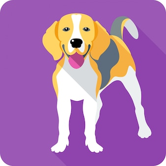 Design piatto clipart cane beagle