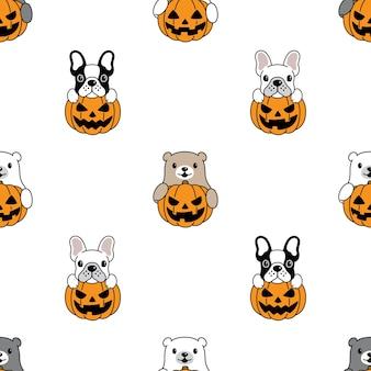 Cane e orso polare seamless pattern halloween zucca illustrazione