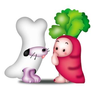 Osso di cane carota cartone animato animali simpatici animali selvatici barbie personaggio bambola dolce modello emozione