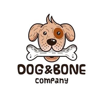 Design del logo di cane e osso