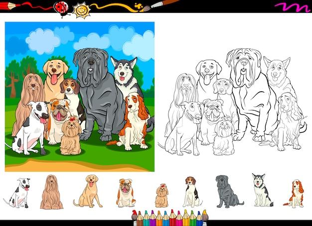 Set di pagine da colorare di cartoni animati di razze di cani