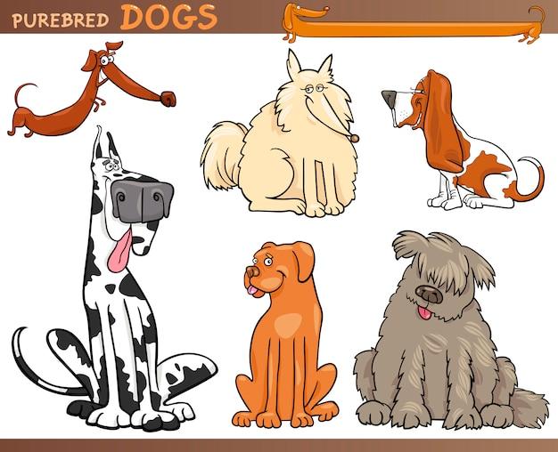 Insieme del fumetto di razze di cani