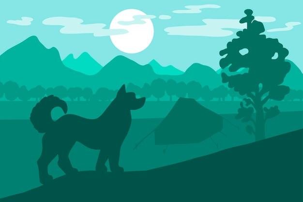 Cane in campeggio. tramonto nella foresta. vettore