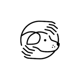 Cura del cane abbracci mano icona logo modello linea muta monoline
