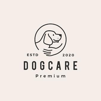 Illustrazione d'annata dell'icona di logo dei pantaloni a vita bassa di cura del cane