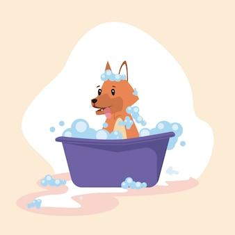 Cartone animato cane in bagno viola