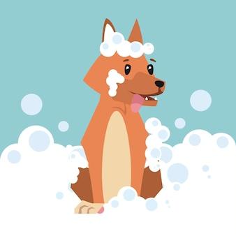 Cartone animato cane con bolle