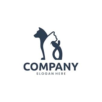 Cane e gatto, animale domestico, ispirazione per il design del logo logo