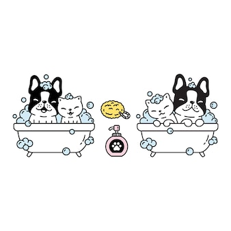 Cane gatto bulldog francese doccia bagno cartone animato