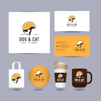 Concetto di design del logo di cane e gatto con modello di presentazione