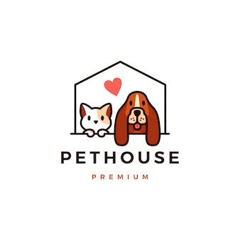 Illustrazione dell'icona di logo della casa dell'animale domestico del gatto del cane