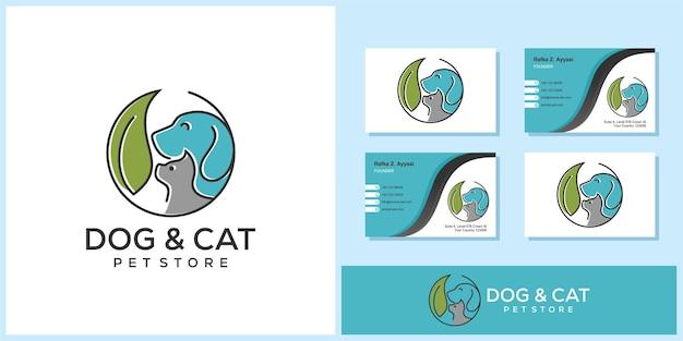 Disegno di marchio del negozio di animali gatto cane con biglietto da visita
