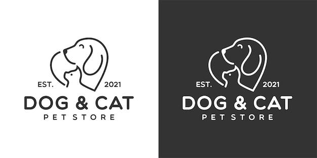 Logo del negozio di animali del gatto del cane