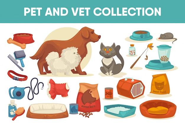 Roba per animali domestici e set di fornitura Vettore Premium