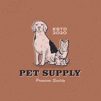 Illustrazione d'annata dell'icona di logo del rifornimento dell'animale domestico del gatto del cane retro