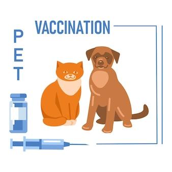 Cane e gatto vaccinazione per animali domestici flacone di vaccino in siringa