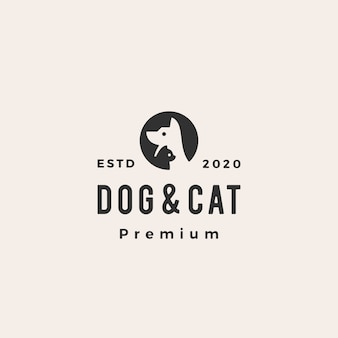 Logo vintage di cane gatto animale domestico