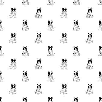 Cane gatto senza cuciture bulldog francese gattino cartone animato