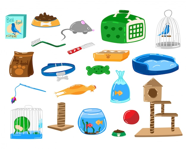 Negozio di gatti per cani, illustrazione degli accessori per animali domestici, alimento piano del fumetto, giocattolo, collare per le icone stabilite dell'animale di cura isolate su bianco