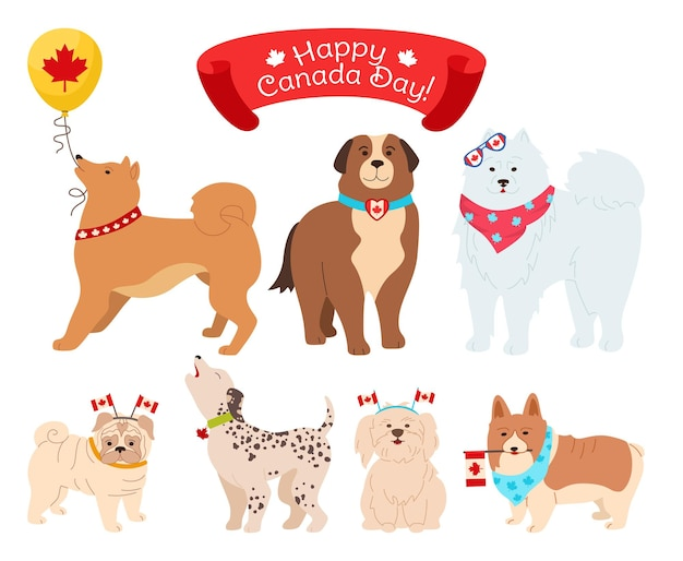 Cane personaggio canada day cartoon set, divertenti cani patriottici con bandiera canadese, palloncino
