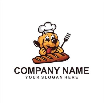 Vettore del logo del cuoco unico del cane