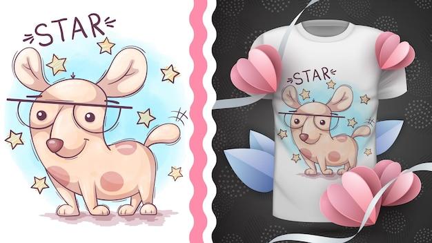 Idea animale del personaggio dei cartoni animati infantile del cane per la maglietta stampata