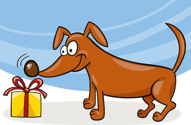 Cane e regalo di natale