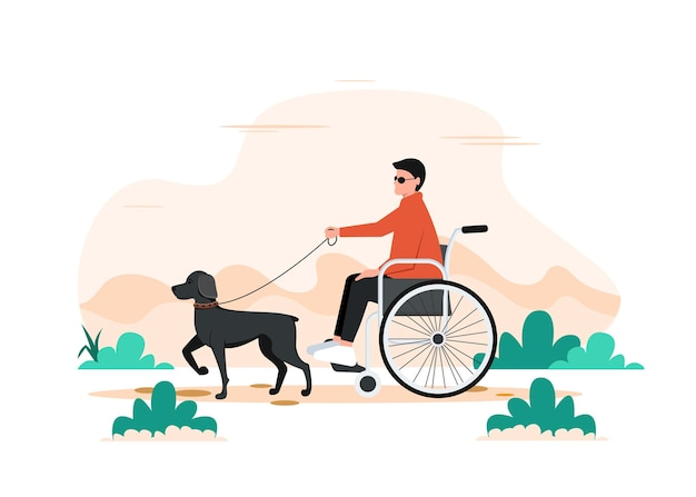 Un cane e un disabile su una sedia a rotelle. camminando con l'illustrazione del cane seeing eye.