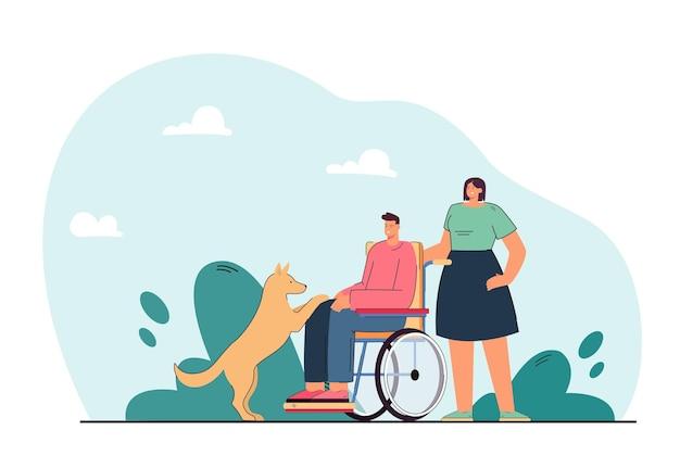 Cane accanto all'uomo disabile su sedia a rotelle. donna che aiuta la persona handicappata che gioca con l'illustrazione piana dell'animale domestico