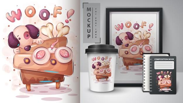 Cane sul comò - illustrazione e merchandising