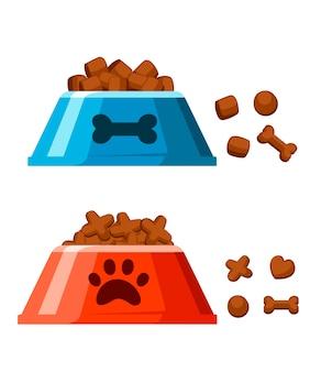Ciotola per cibo secco per cani. patatine a forma di osso. ciotola per animali domestici rossa e blu con cibo secco. illustrazione su sfondo bianco. pagina del sito web e app per dispositivi mobili.