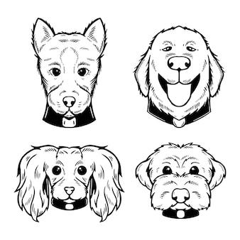 Collezione di volti di cane