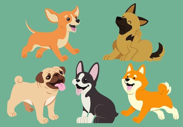 Insieme del fumetto piatto cane Vettore Premium