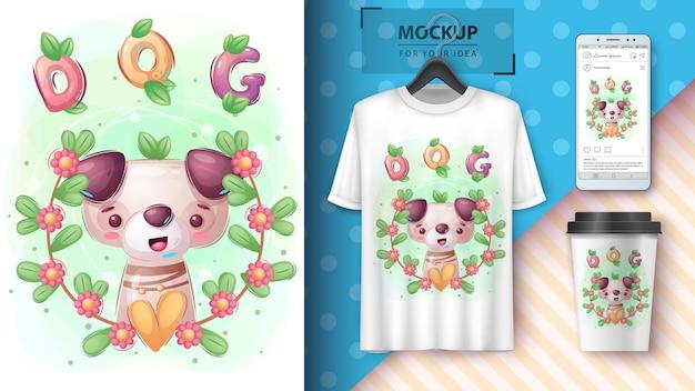 Dog in flower poster e merchandising