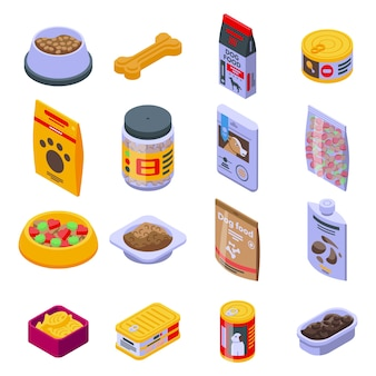 Set di icone di cibo per cani. insieme isometrico delle icone di cibo per cani per il web isolato su priorità bassa bianca